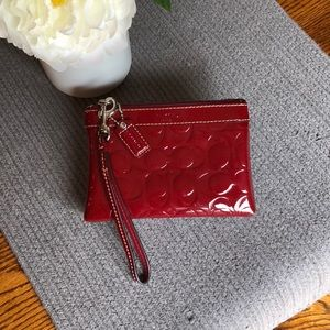 Coach Wristlet- Red Patent Leather